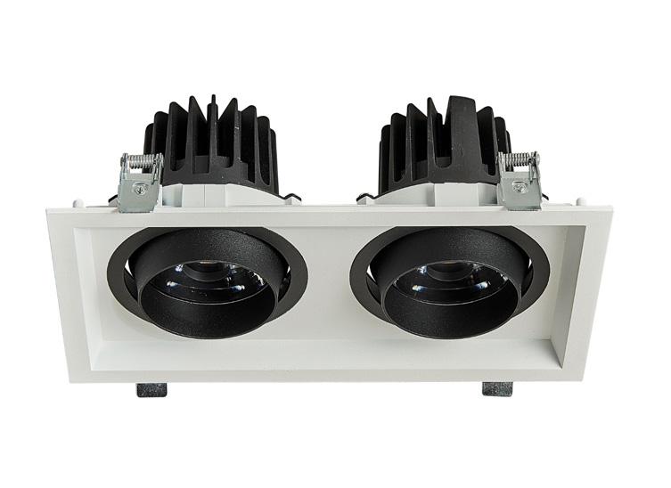 HLY-B51072C 全压铸深防眩双头格栅射灯